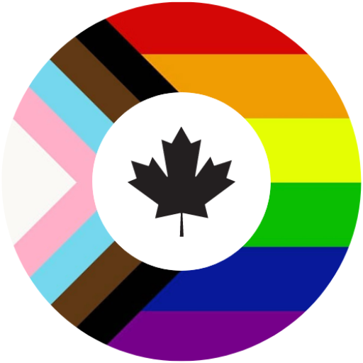 Public Service Pride Network Logo, featuring colours of the inclusive Pride flag in a circular shape with a maple leaf in the centre.