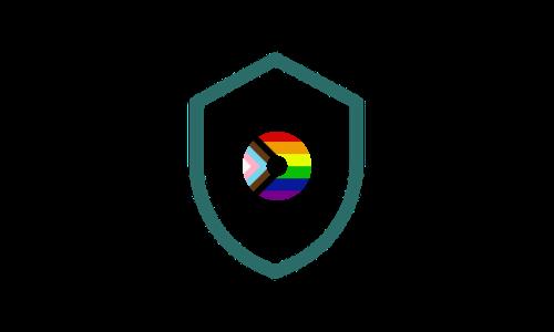 Icon of shield with inclusive Pride colours in the centre
